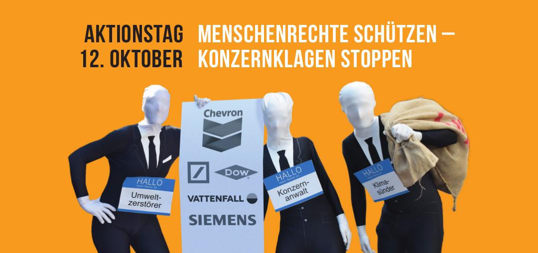 """Presseankündigung zum dezentralen Aktionstag am 12. Oktober """"Menschenrechte schützen – Konzernklagen stoppen!"""""""