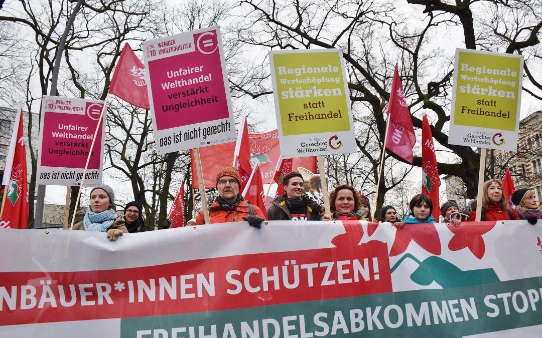 """Aufruf zum handelspolitischen Block bei der """"Wir haben es satt!""""-Demo in Berlin am 18. Januar"""